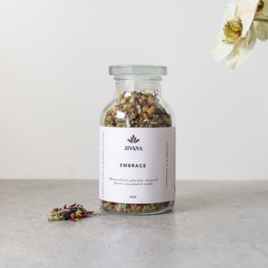 Embrace Large size for strengthening skin integrity, reducing blemishes and calming stress relieving actions with rose, chamomile, gotu kola and blue pea flower